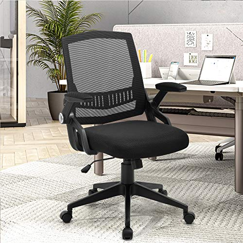 SAMOFU Office Chair, Ergonomic Desk Chair with Flip-up Armrest, Height Adjustable Task Chair 360° Rotation, Mesh Computer Chair for Home Office, 300LB Weight Capacity, Black