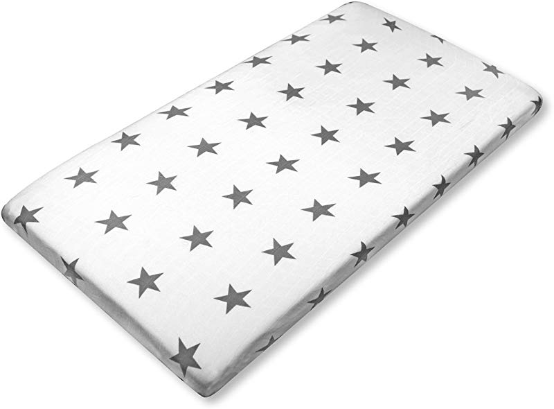Brooklyn Bamboo Extremely Soft Organic Bamboo Portable Fitted Crib Sheet Hypoallergenic Breathable Perfect For Boys Girls Unisex Design Star Pattern