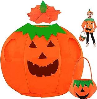 Costume de citrouille pour enfant, cape de citrouille pour Halloween, costume de citrouille avec chapeau, costume pour béb...