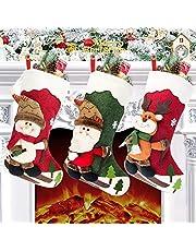 Calcetín de navidad 3 pcs,Medias de regalo de saco de Navidad para la decoración del árbol ,Adorno de Navidad Bolsa de dulces , Calcetín de decoración navideña Para llenar y colgar (46 * 25 cm)