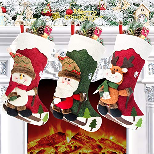 Chaussette de Noel, Set de 3 Grandes Xmas Sac Cadeau, Chaussettes Noël a Suspendre avec Père Noël Renne Bonhomme De Neige pour Décoration Noel Cheminée Sapin Sac de Bonbons