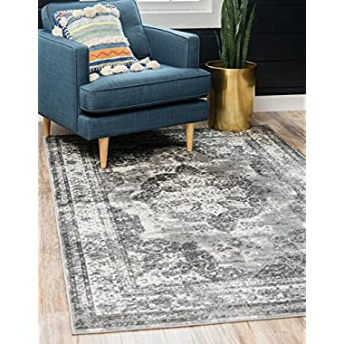Unique Loom Sofia Collection Traditional Vintage Gray Home Décor Area Rug (8' x 10')