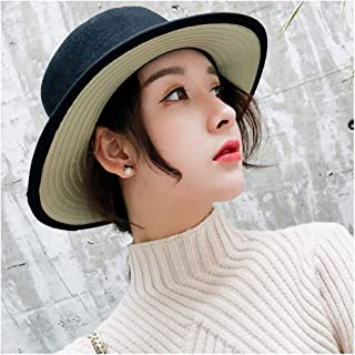 Elegant Hats 100% Wool Hat Women Fedora Female Black Flat Bristles Wild Flat Hat Jazz HatLiterary Hat Bowler Hat Natural Caps (Color : Green, Size : 56-58CM)