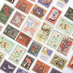 TNYKER シール フレークシール 手帳 ステッカー 海外 レトロ ヨーロッパ スケジュール デコ おしゃれ 西洋 手紙 カレンダー 40枚セット(レトロ切手)