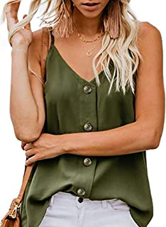 Women Summer Tops Women's Button Down V Neck Strappy Tank Tops Loose Casual Sleeveless Shirts Blouses