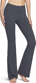 TSLA Womens Bootcut Yoga Pants with Pockets, Tummy Control High Waist Bootleg Yoga Pants, 4 Way Stretch Workout Pants