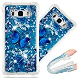 COTDINFORCA J7 2015 Case, 3D Cute Painted Glitter Liquid Sparkle Floating Bling Quicksand Shockproof Protective Bumper Silicone Case Cover for Samsung Galaxy J7 2015 J700. Liquid - Blue Butterfly