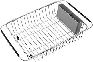 SANNO Over The Sink Expandable Dish Drying Rack, Dish Drainer,Dish Rack Dish Drainer Rack Plate Holder Basket in Sink or On Counter with Utensil Silverware Storage Holder, Rustproof Stainless Steel