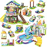 New Zaccit Building Block Tree House Friends & Treehouse Pool PartyCreative Building Toy Set for Kids Creative Building Bricks Blocks Kit, Birthday Gift with Storage Box,1274 PCS