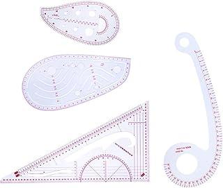 Sharplace 4ピース/セット 定規セット 裁縫道具 三角、曲線定規 フレンチカーブルーラー 便利