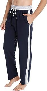Pantalon de Pijama Hombre Algodón Suelto con Cintura Elástica Pantalones de Pijama Largo Chandal Casual Estar por Casa con Bolsillos