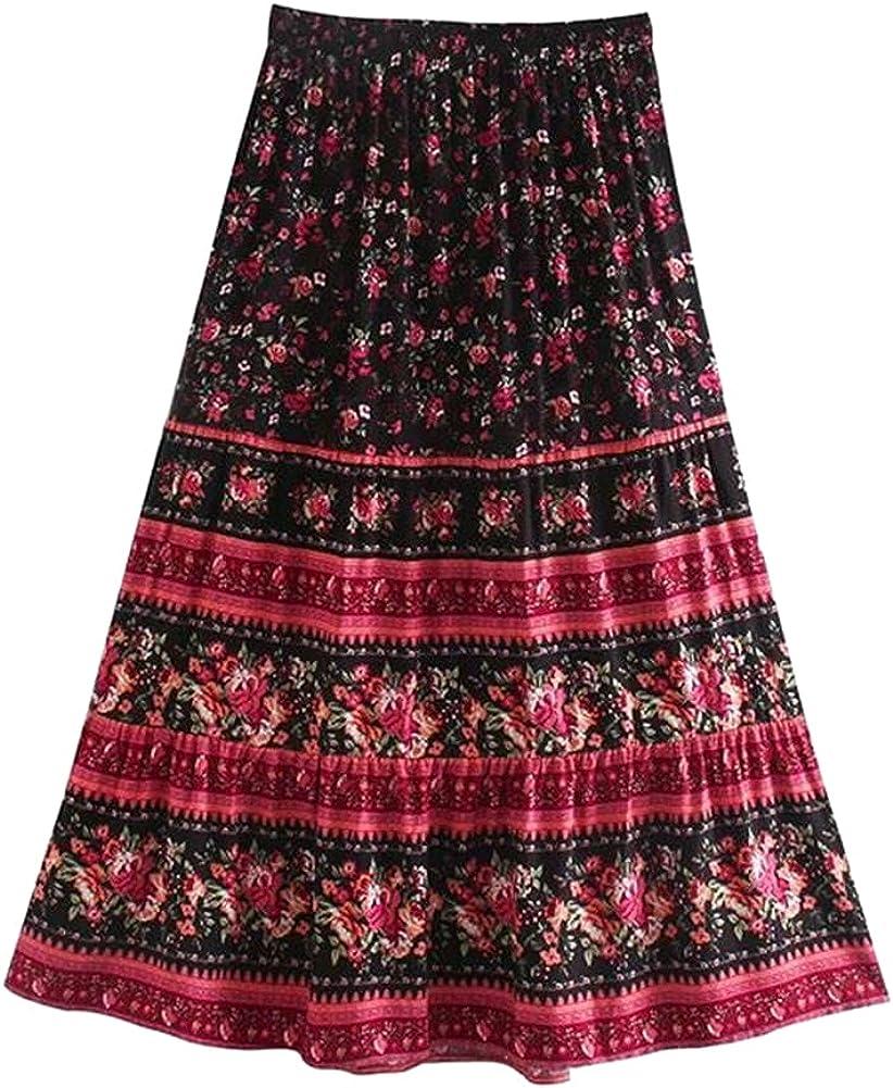 CHIC&TNK Multi Floral Print Ethnic Women Beach Skirt Ladies High Elastic Waist Rayon Cotton Maxi Skirts
