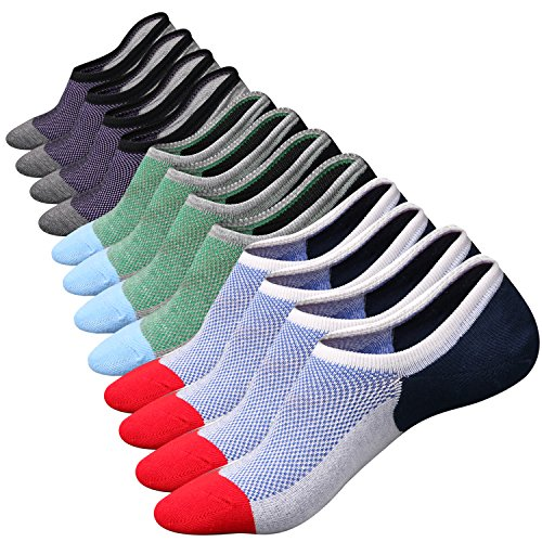 No Show Socks for Mens Low Cut Ankle Invisible Non-Slip Casual Cotton Socks 6Pairs Size M