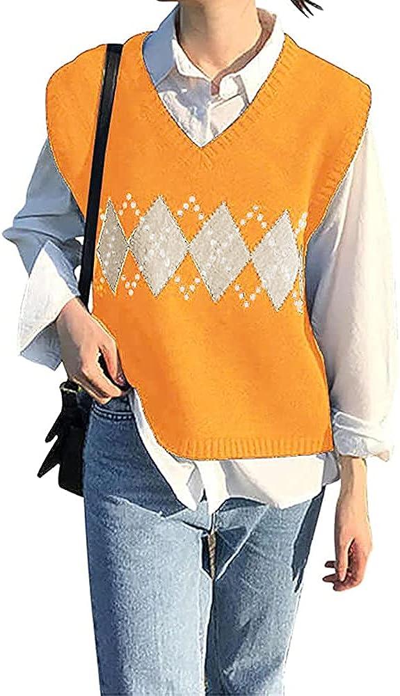 BZB Women's V Neck Sweater Vest Argyle Plaid Knit Casual Sleeveless Crop Sweater Tank Top Yellow