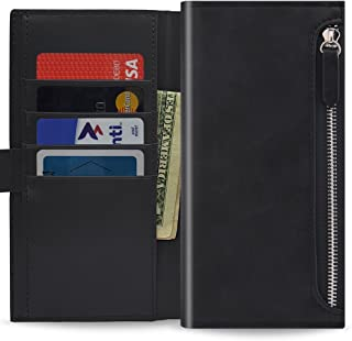 Qoosan LG V40 ThinQ Case, LG V40 Wallet Case [Zipper] Protective PU Leather Flip Cover with Card Holder & Zipper Pocket Bl...