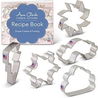 Ann Clark Cookie Cutters 5-Piece Weather Cookie Cutter Set with Recipe Booklet, Sun, Cloud, Rainbow, Lightning and Snowflake