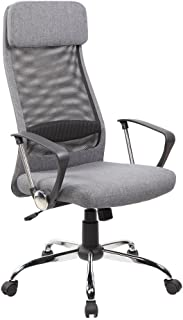 IFCO DECO AOC-8045-GR Mid Back Mesh & Fabric Executive & Managerial Swivel Chair with Fabric Upholstery Headrest and Seat (Black)
