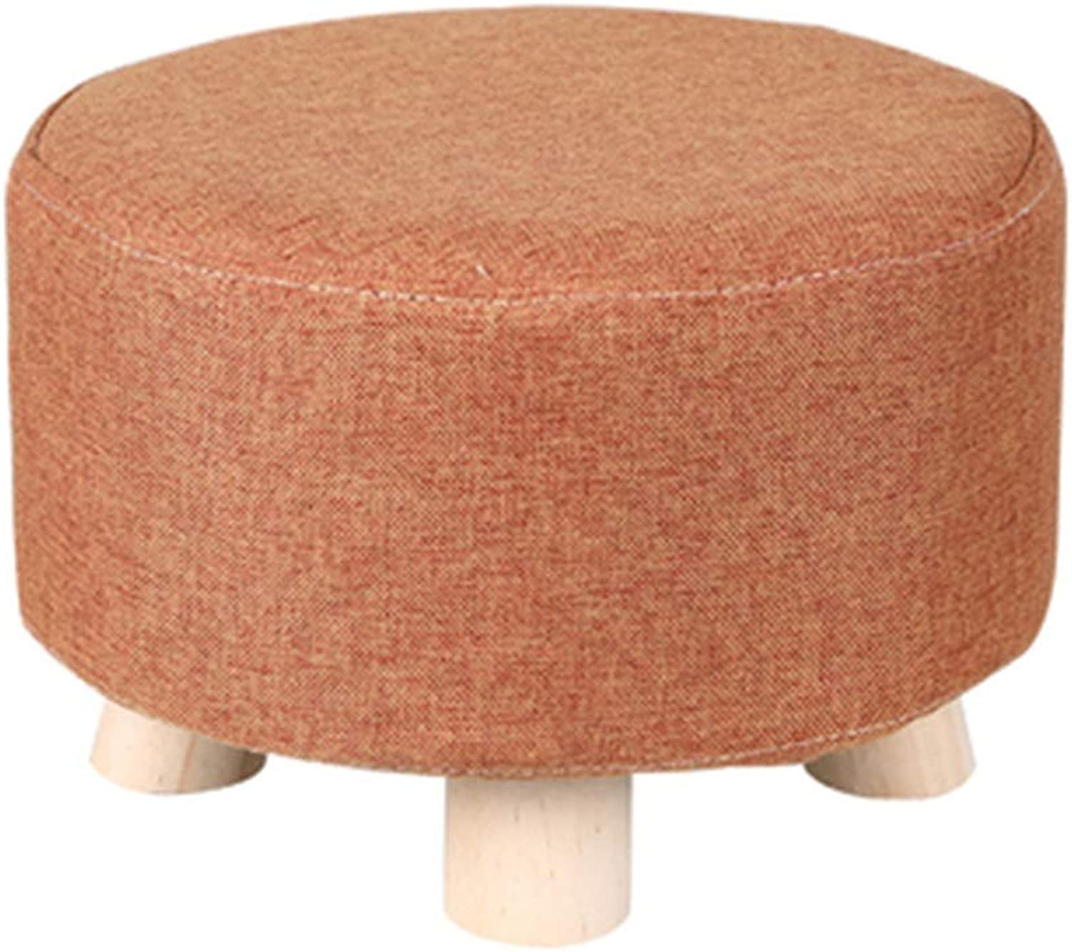 ZHBWJSH Stool Home Fashion Creative Small Stool Sofa Stool Solid Wood Footstool Change shoes Stool Living Room Mound Bench Fabric Stool (color   A)