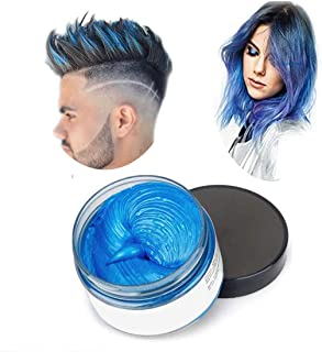 Hair Color Wax,One-time Temporary Modeling Natural Color Hair Dye Wax,Natural Matte Hairstyle for party.Cosplay, Masquerade,Nightclub,Halloween (Blue)