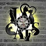 Dia 30cm J'aime les chats Vintage Disque vinyle Horloge Disque vinyle Horloge murale Design moderne 7 LED Changement de couleurs suspendues Montre murale Décor à la maison 7 Couleurs changeantes Cad