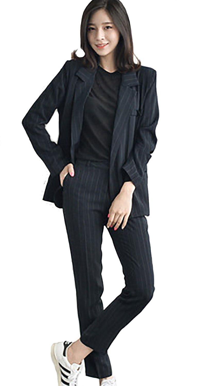 レディース スーツ 2点セット ストライプ ジャケット & パンツ カジュアル フォーマル オフィス リクルート 入園式 入学式 通勤 通学 事務服 セットスーツ ママスーツ Le ciel clair (ルシェルクレール)