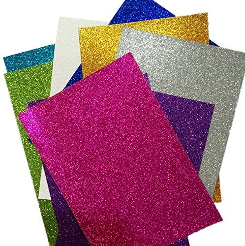 Cartulina con purpurina tamaño A4 para DIY, decoración o trabajos manuales, colores aleatorios (8 unidades)