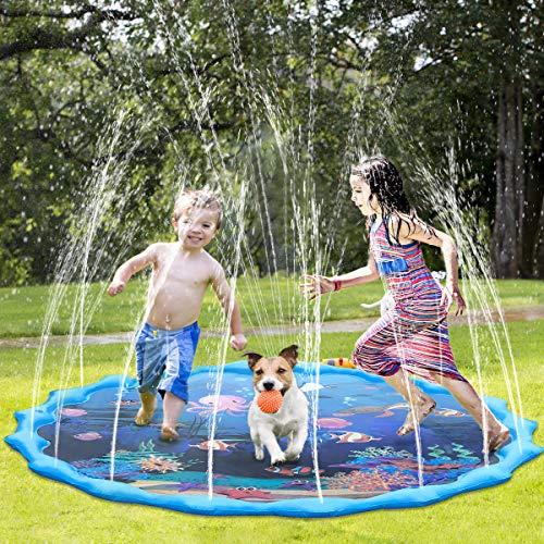 Fostoy Splash Pad, 68 Zoll Splash Play Matte Wasser-Spielmatte Sprinkler Wasserspielzeug Spielmatte Kinder Pool Pad Outdoor Sommer Garten Spielzeug für Familie Aktivitäten/Strand/Garten