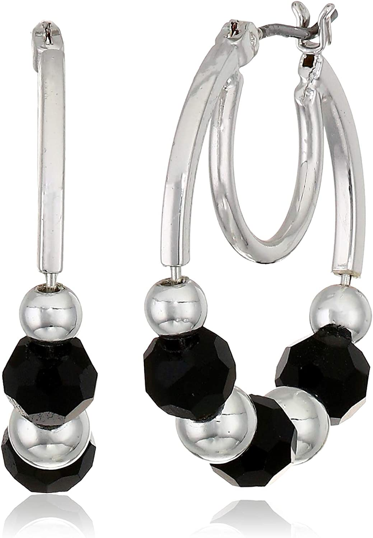 Nine West Women's Jet Hoop Earrings, Size: 0