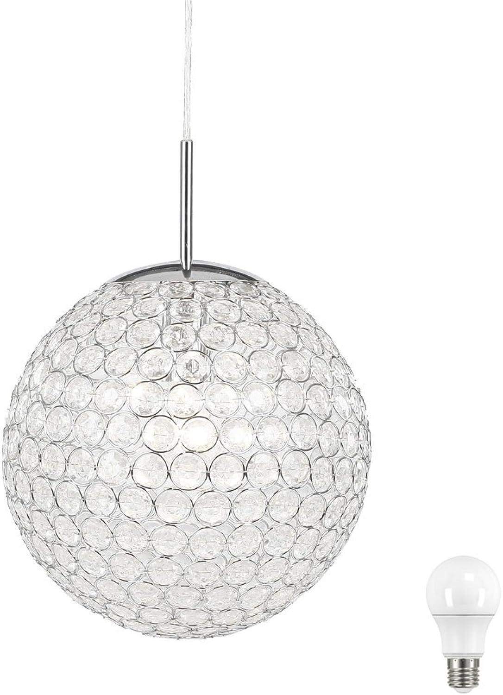 10 Watt Hnge Lampe Pendel Kugel Beleuchtung Wohn Zimmer Kristall Leuchte Chrom im Set inkl LED Leuchtmittel