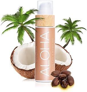 COCOSOLIS Aloha - Acelerador de Bronceado con Vitamina E, Loción Bio Oil para un bronceado natural – Bronceadores Solares choco - Seis aceites naturales para una piel radiante - 110 ml