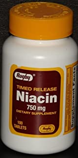 Niacin 750 mg, Timed Release, 100 Tablets, Watson Rugby