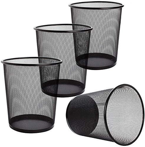 Tebery Juego de 4 papeleras de malla circular, cubo de basura para baños, cocinas, oficinas en casa, dormitorios (negro)