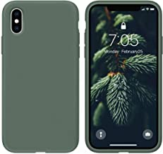 OuXul Case for iPhone X/iPhone Xs case Liquid Silicone Gel Rubber Phone Case,iPhone X/iPhone Xs 5.8 Inch Full Body Slim Soft Microfiber Lining Protective Case(Forest Green)