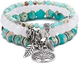 FUTTMI Tree of Life Semi Precious Original Design Crystals and Healing Stones Yoga Beaded Bracelets Beach Charm Bracelet Set for Women Girls, Ocean Jewelry