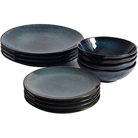 ProCook Vaasa - Service de Table en Grès - Set 12 Pièces/Pour 8 Personnes - Petite Assiette, Grande Assiette & Bol à Céréales - Glaçure Réactive - Bleu