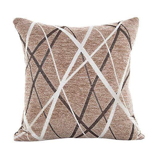 None Branded Pillowcase Chenille Ray Stripe Plush Pillow Sofa Waist Throw Cushion Cover Home Decor Cushion Cover Case (Color : Coffee, Size : 42X42cm)