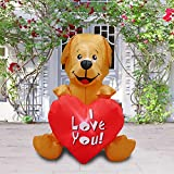 JF Deco 4Ft Inflatable Valentine Day Decorations Puppy Lover for Wedding Anniversary Party with Lights