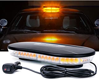 Xprite Amber COB Strobe Lights Bar LED Rooftop Emergency Warning Light with Magnetic Base for Vehicles Cars Trucks 19 Flashing Patterns