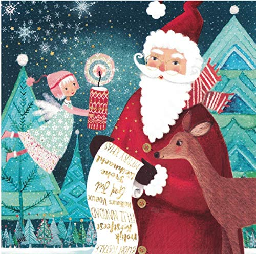 Mila Marquis Postkarte 140x140mm ~ Nikolaus mit Wunschzettel ~ Weihnachten