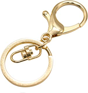 JETEHO 25 Set Gold Metal Lobster Clasp Keychain Lobster Claw Clasps Findings for Keychain DIY Bags