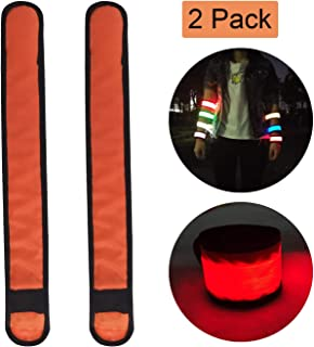 LED Slap Bracelets Light Up Armbands Glow in The Dark Wristbands for Men Women Kids, Night Safety Lights Reflective Gear for Running Jogging Cycling Hiking Camping Outdoor Sports