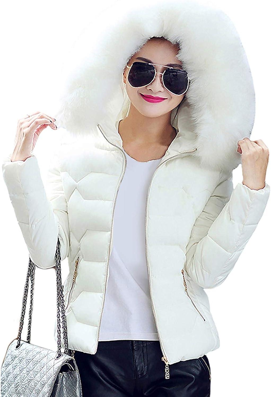 GORIFE Women's Thickened Hooded Down Jacket Fur Hood Trim Slim Parka Puffer Coat 2XS-XL