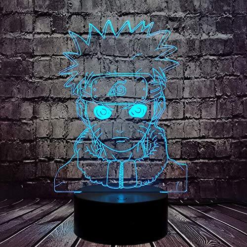 Naruto Uzumaki Nachtlicht 3D Optische Illusion Sasuke LED Tischlampe für Junge Schlafzimmer 7 Farbe USB Kabelwechsel Obito Uchiha Mood Light Urlaub Geburtstag Weihnachten Naruto Modell Geschenk für Ki