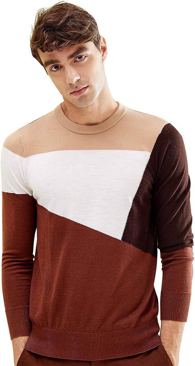 zhili Men's 100% Wool Crew Neck Pullover Sweater