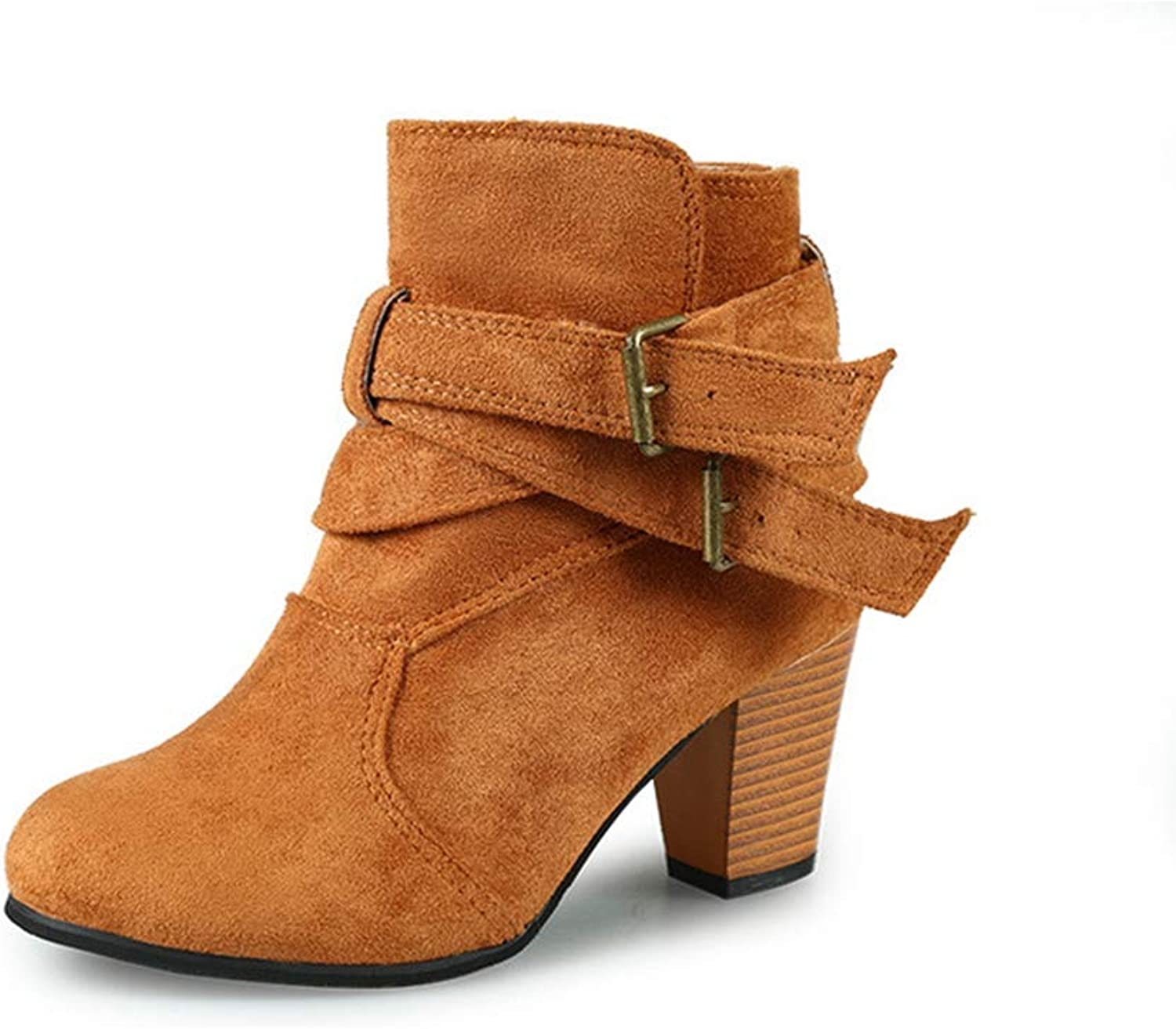 JOYBI Women Fashion Round Toe Ankle Boots Buckle Strap Slip On Ladies Chunky Stacked High Heel Short Boot
