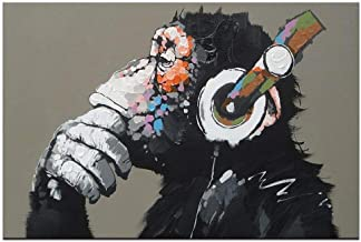 Canvas Wall Art Animals Animal Music Gorilla Canvas Printed Painting Modern Funny Thinking Monkey with Headphone Wall Art for Living Room Decor Ready to Hang 1 Panel 12