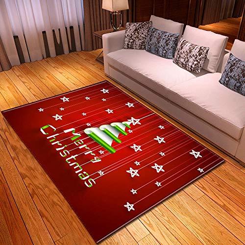NYCROSSER Alfombra Salón Moderna,Antideslizante Gran Tamaño Rug Hogar Decoración Merry Christmas Tree Origami White Star Pattern Red Carpet El 120×180cm
