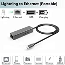 Ethernet Adapter Power Charging PD for iPad,iPhone 11,X,XS,XR,8,7,6. Ethernet,USB Camera,Power Converter. RJ45 Ethernet LAN Wired Network,OTG(Data Sync) Hub with Female Charge Port,USB Interface