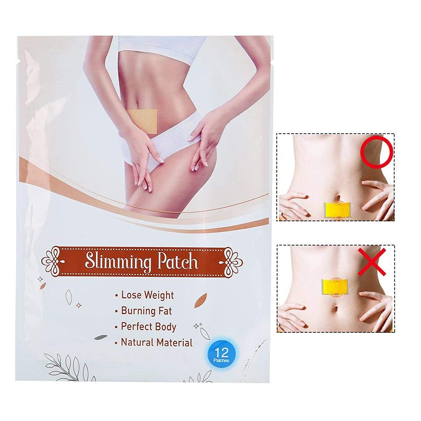 論理的に残りレインコート12PCS痩身ステッカー - 体脂肪バーナー - 減量デトックス、スリムパッチ - 男性と女性用
