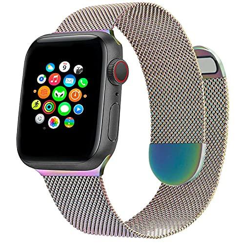 Correa de Reloj Metálica Milanesa Compatible con Apple Watch Band 40 mm 38 mm, Pulsera de Repuesto de Malla de Acero Inoxidable Ajustable Magnética para iWatch Series 6 5 4 3 2 1 SE, Vistoso